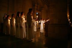 Lucia festival i Sverige Arkivbilder
