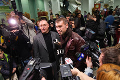 Lucian Bute and press Stock Photos