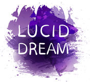 `Lucid dream` text on red paint splash backdrop. VECTOR hand drawn letters. Purple spot. `Lucid dream` text on red paint splash backdrop. VECTOR hand drawn Stock Photos