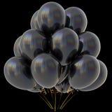 Lucido scuro della decorazione del partito di buon compleanno dei palloni del nero Fotografia Stock Libera da Diritti