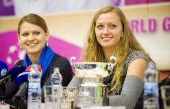 Lucie Safarova en Petra Kvitova Stock Fotografie