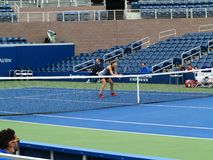Lucie Safarova - US Open Tennis. Lucie Safarova at the net during a Women`s doubles match in 2017 on the new Grandstand Court at the US Open Tennis Championship Stock Images
