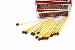 Lucifer match, match fire, match matches, a pack match, matches on white pitch Royalty Free Stock Photos