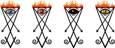 Lucifer sign set. A set of symbols Lucifer eye in four variants Royalty Free Stock Photography