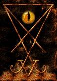 Lucifer Symbol mit einem Reptilian mustert Stockfotografie
