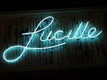 Lucille blu al neon Fotografie Stock Libere da Diritti