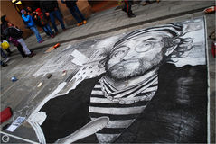 Lucio dalla, bologna, drawing in chalk on the road Royalty Free Stock Image