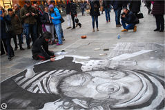 Lucio dalla, bologna, drawing in chalk on the road Royalty Free Stock Images