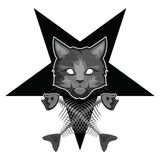 Lucipurren - ond katt, pentagram och korsade fiskben stock illustrationer