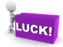 Luck. Little man pushing a block labeled luck over white background, concept of luck, chance and destiny Stock Photography