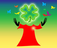 Luck. Happy butterflys with luck itself in red robe Stock Images
