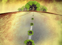 Luck, bon voyage. Bon voyage card, horizon road and four-leaf clovers Royalty Free Stock Photography