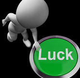 Luck Button Shows Chance Gamble Or Fortunate Stock Photo