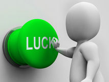 Luck Button Shows Gambling Fortunate And Risk Royalty Free Stock Photography