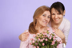 Luck Caucasian elderly woman and her daughter Stock Photography