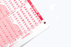 Luck of the Draw. Random Number filled Lottery ticket royalty free stock image