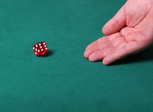 Luck of the draw. Dices being thrown in a craps game, or yatzee or any kind of dice involved game, Dices are a clear red color on a green felt table Royalty Free Stock Photos