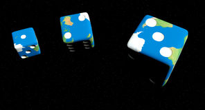 Lucky earth. Tumbling lucky dice set to read 1 2 3 Stock Images