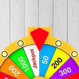 Luck and Fortune Concept. Spinning Colorful Fortune Wheel. 3d Re. Luck and Fortune Concept. Spinning Colorful Fortune Wheel on a wooden background. 3d Rendering Stock Photo