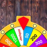 Luck and Fortune Concept. Spinning Colorful Fortune Wheel. 3d Re. Luck and Fortune Concept. Spinning Colorful Fortune Wheel on a wooden background. 3d Rendering Stock Photography
