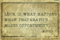 Luck happens Seneca Royalty Free Stock Image