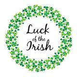 Luck of the Irish in shamrock circle frame Stock Images