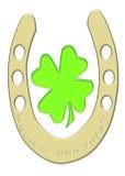 Luck O' The Irish. Gold Horseshoe and Shamrock Stock Photo