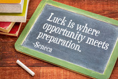 Luck, opportunity and preparation quote Stock Photo