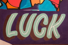 Luck painted on the wall Stock Photo
