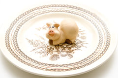Luck pig on plate Stock Photos