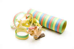 Luck pig with streamers Stock Photography
