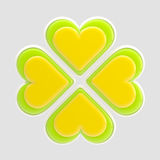 Luck symbol made of glossy hearts isolated. Luck symbol made of four green and yellow glossy hearts isolated on grey Royalty Free Illustration