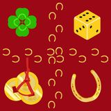 Luck symbols clover, hinese coins, dice and horseshoe vector pattern stock illustration