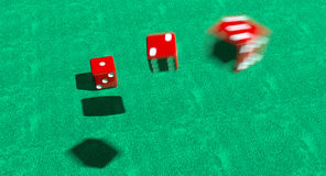 Lucky dice. Tumbling lucky dice set to read 1 2 3 Royalty Free Stock Images