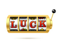 Luck word on slot machine Royalty Free Stock Images