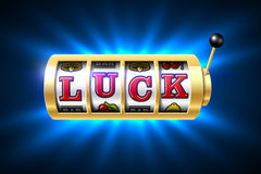 Luck word on slot machine Royalty Free Stock Photos