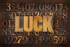 Luck word in wood type Stock Image