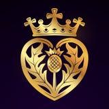 Luckenbooth-Broschen-Vektorgestaltungselement Schottische Herzform der Weinlese mit Kronensymbol-Logokonzept Valentinstag oder Lizenzfreies Stockbild