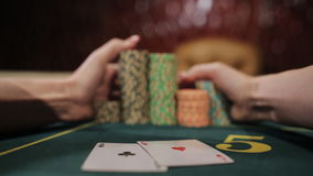 Luckiest girl moves your winnings. The poker game ended with a lucky player. stock video footage
