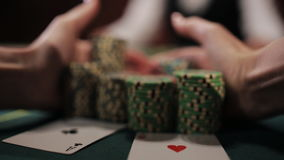 Luckiest girl moves your winnings. The poker game ended with a lucky player. stock footage