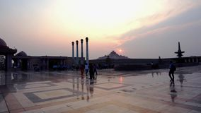 Pillars and the central museum of Ambedkar Park Lucknow stock footage