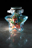 Luckstar. A can of handmake luckstar is full of paper crane stock photo
