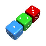 Lucky 1-2-3 Colourful Dice. Colourful 1-2-3 dice representing chance, luck, and risk.  High quality 3D render, isolated against white Royalty Free Stock Photo