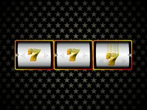 Lucky 777. Rolling slot machine jackpot 777 stock illustration