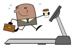 Lucky African American Businessman Cartoon tecken Arkivfoto