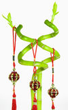 Lucky Bamboo and Chinese New Year Hanging Decoration, Isolated on White Background Stock Images