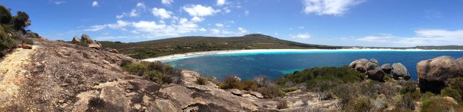 Lucky bay panorama. Lucky Bay beach panorama at Cape Le Grand National Park Australia Stock Photo