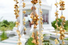 Lucky Bell at Wat Thung Setthi Templ, People pray their wish on Lucky Bell in Khonkaen city stock photo