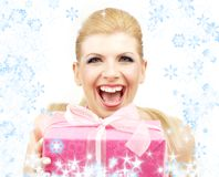 Lucky blond with snowflakes Royalty Free Stock Photography