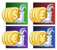 Lucky bunny girl  and  money.  Dollar, Euro, yen, pound sterling Stock Images